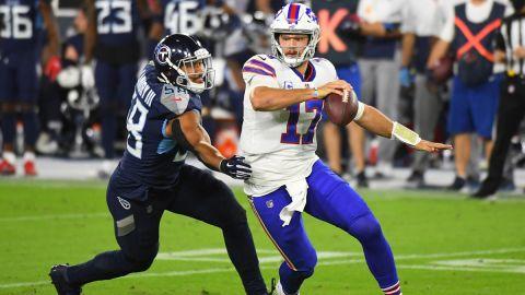 Tennessee Titans linebacker Harold Landry and Buffalo Bills quarterback Josh Allen