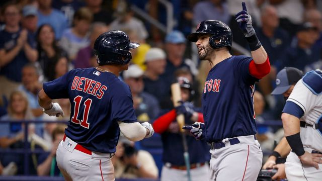 Boston Red Sox designated hitter J.D. Martinez, Rafael Devers
