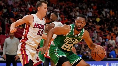 Boston Celtics forward Jabari Parker, Miami Heat forward Duncan Robinson