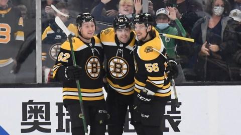 Boston Bruins forward Jake DeBrusk, Center Oskar Steen, forward Erik Haula