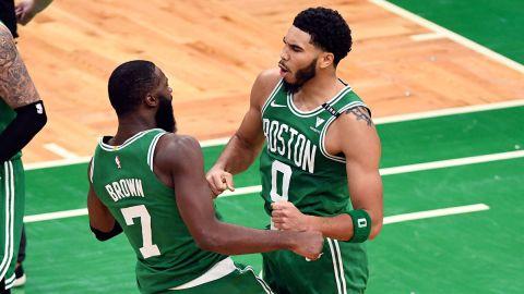 Boston Celtics forwards Jaylen Brown and Jayson Tatum
