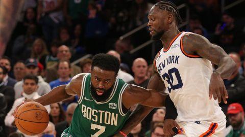 Boston Celtics guard Jaylen Brown and New York Knicks forward Julius Randle