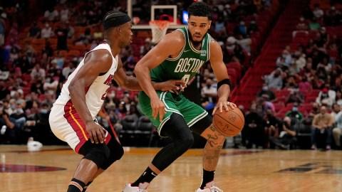 Boston Celtics forward Jayson Tatum, Miami Heat forward Jimmy Butler