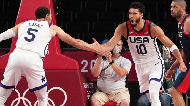 USA Basketball's Jayson Tatum and Zach LaVine