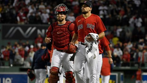 Boston Red Sox catcher Kevin Plawecki and pitcher Nathan Eovaldi