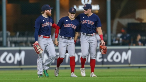 Boston Red Sox outfielders Kiké Hernández, Hunter Renfroe and Alex Verdugo