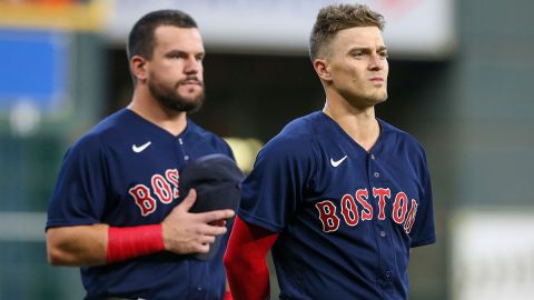 Boston Red Sox first baseman Kyle Schwarber and outfielder Kiké Hernández