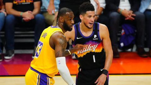 Los Angeles Lakers forward LeBron James and Phoenix Suns guard Devin Booker
