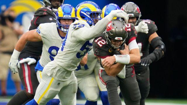 Los Angeles Rams linebacker Leonard Floyd and Tampa bay Buccaneers quarterback Tom Brady