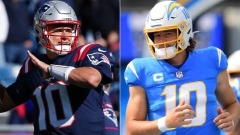 New England Patriots quarterback Mac Jones and Los Angeles Chargers quarterback Justin Herbert