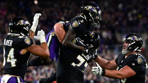Baltimore Ravens wide receiver Marquise Brown and teammates