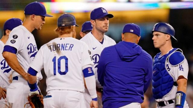 Los Angeles Dodgers pitcher Max Scherzer, manager Dave Roberts