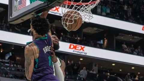 Charlotte Hornets forward Miles Bridges and Boston Celtics guard Jaylen Brown