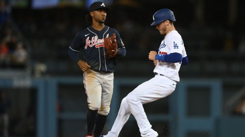 Atlanta Braves second baseman Ozzie Albies and Los Angeles Dodgers first baseman Cody Bellinger
