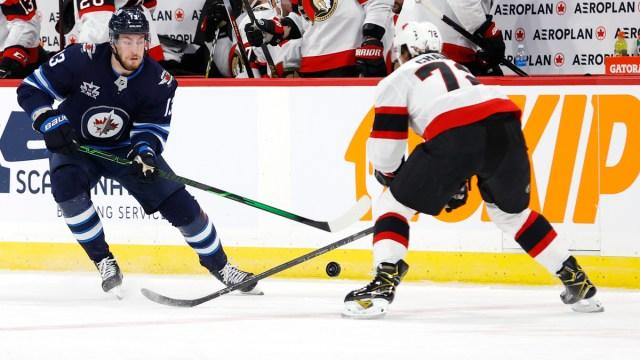 NHL players Pierre-Luc Dubois of the Winnipeg Jets, Ottawa Senators defenseman Thomas Chabot
