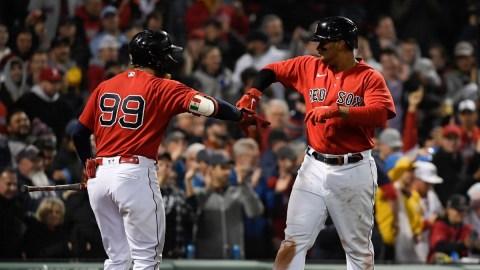 Boston Red Sox Third Baseman Rafael Devers, Outfielder Alex Verdugo