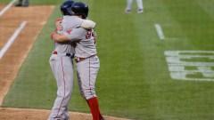 Boston Red Sox third baseman Rafael Devers, first baseman Kyle Schwarber