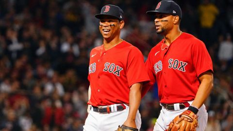 Red Sox players Rafael Devers and Xander Bogaerts
