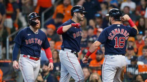 Boston Red Sox oufielders Alex Verdugo, J.D. Martinez, Alex Schwarber