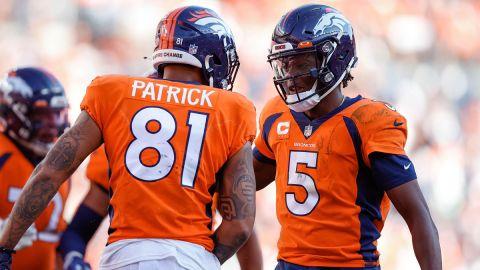 Denver Broncos wide receiver Tim Patrick and quarterback Teddy Bridgewater