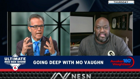 New England Sports Network host Tom Caron and former Boston Red Sox first basemen Mo Vaughn