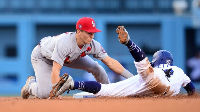 St. Louis Cardinals infielder Tommy Edman, Los Angeles Dodgers outfielder Mookie Betts