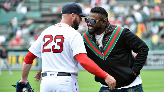 Boston Red Sox first basemen Travis Shaw and former designated hitter David Ortiz