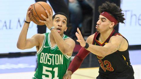 Boston Celtics guards Brodric Thomas and Tremont Waters