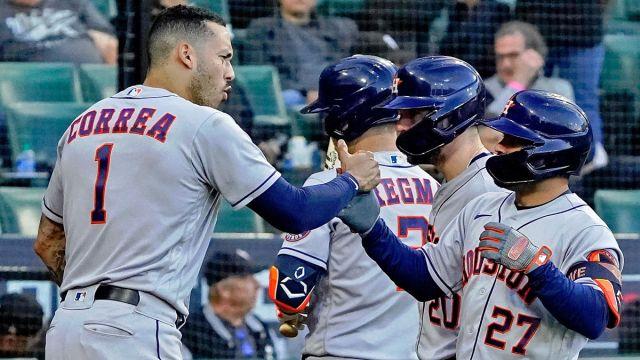 Houston Astros shortstop Carlos Correa and second baseman Jose Altuve