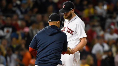 Boston Red Sox manager Alex Cora, starting pitcher Chris Sale