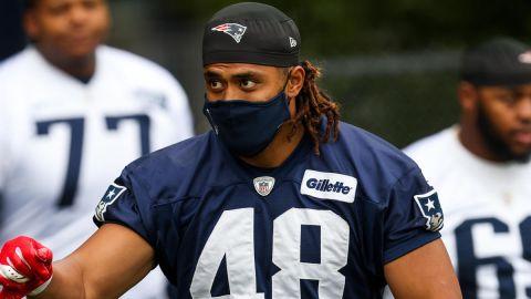 New England Patriots linebacker Harvey Langi