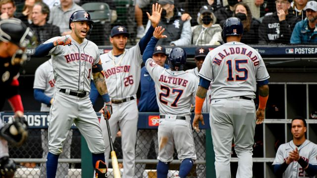 Houston Astros shortstop Carlos Correa, center fielder Jose Siri, second baseman Jose Altuve