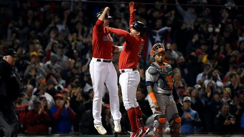 Boston Red Sox outfielder Hunter Renfroe and first baseman Kyle Schwarber