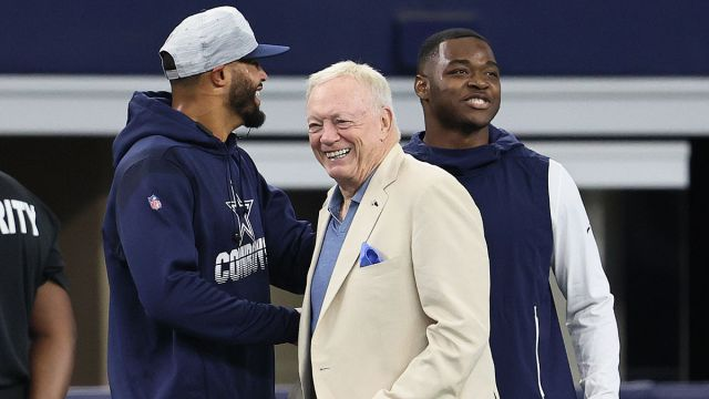 Dallas Cowboys owner Jerry Jones, quarterback Dak Prescott and receiver Amari Cooperr