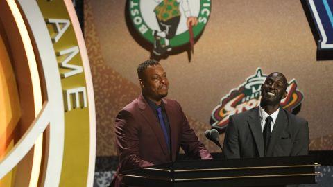 Former Boston Celtics players Kevin Garnett and Paul Pierce