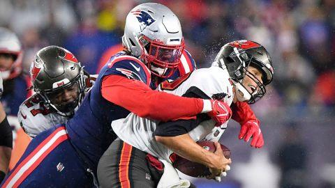 New England Patriots linebacker Matt Judon and Tampa Bay Buccaneers quarterback Tom Brady