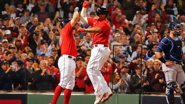 Boston Red Sox third baseman Rafael Devers and first baseman Kyle Schwarber